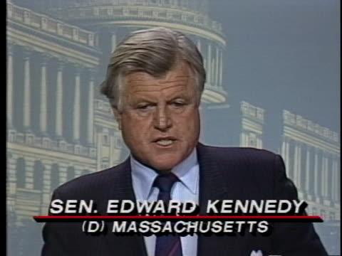 vídeos de stock e filmes b-roll de senator edward kennedy says he thinks there can be substantial cuts in the sdi, mmx missile and the b-2 bomber. - ministério da defesa dos estados unidos