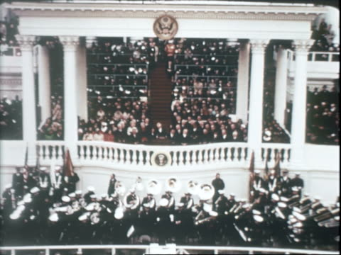 vídeos de stock, filmes e b-roll de senator everett dirksen introducing us supreme court chief justice earl warren at inauguration ceremony for richard nixon / chief justice earl warren... - tomada de posse