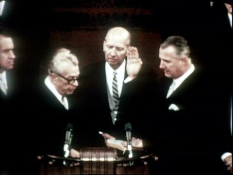 vídeos de stock, filmes e b-roll de senator everett dirksen speaking to crowd at inauguration ceremony for richard nixon introducing vice president elect spiro agnew / rear view of... - tomada de posse