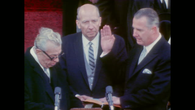 Senator Everett Dirksen swears Spiro Agnew in as Vice President