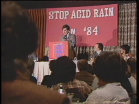 senator gary hart discusses treaties with canada to combat acid rain. - united states and (politics or government) stock videos & royalty-free footage