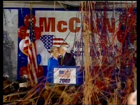 senator george w bush standing at podium during his fundraising rally zoom in cms senator john mccain speech sot it's a cornucopia of good deals for... - gore stock videos and b-roll footage