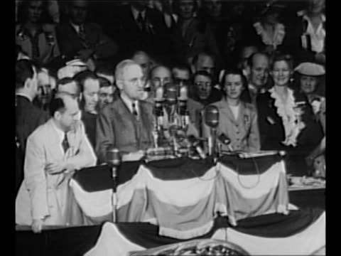 senator harry s. truman bangs gavel while on platform at the 1944 democratic national convention in chicago; he speaks briefly after learning that... - harry truman stock videos & royalty-free footage