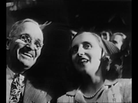 senator harry s. truman sits with wife bess and daughter margaret at the 1944 democratic national convention in chicago; margaret whispers to him /... - potsdam brandenburg stock videos & royalty-free footage