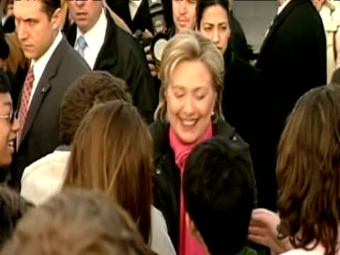 senator hillary clinton greets crowd during democratic party nomination campaign trail usa; 8 january 2008 - nomination stock videos & royalty-free footage