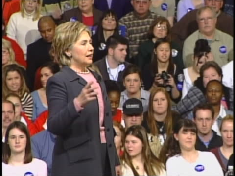 senator hillary clinton speaks of the need for unity in tackling the american health care crisis during a campaign stop in des moines, iowa. - healthcare and medicine or illness or food and drink or fitness or exercise or wellbeing stock videos & royalty-free footage
