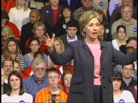 senator hillary clinton speaks of the need for unity in tackling the american health care crisis during a campaign stop in des moines iowa - business or economy or employment and labor or financial market or finance or agriculture stock videos & royalty-free footage