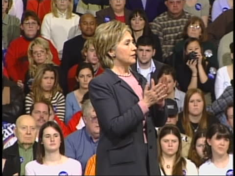 senator hillary clinton speaks of the need for unity in tackling the american health care crisis during a campaign stop in des moines, iowa. - business or economy or employment and labor or financial market or finance or agriculture stock videos & royalty-free footage