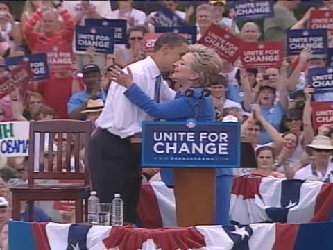 senator hillary clinton speaks on behalf of us democratic presidential candidate barack obama at the 2008 unity rally. - united states and (politics or government) stock videos & royalty-free footage