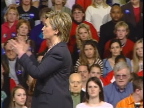 senator hillary clinton stresses the need for unity during a campaign appearance at east high school in des moines, iowa. - united states and (politics or government) stock videos & royalty-free footage