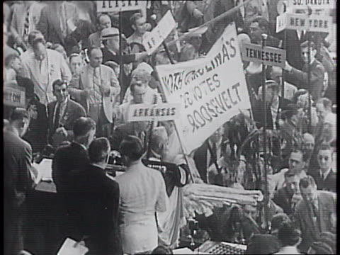 stockvideo's en b-roll-footage met senator j lister hill as he addresses the convention / hill nominates franklin delano roosevelt for president / crowds cheer wildly in support /... - 1940