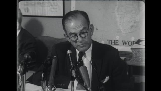 senator j william fulbright criticizes richard nixon to the press - richard nixon stock-videos und b-roll-filmmaterial