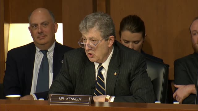senator john kennedy of louisiana questions justice department inspector general michael horowitz says at a senate judiciary committee hearing on the... - louisiana stock-videos und b-roll-filmmaterial
