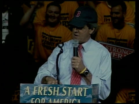 senator john kerry rally speech sot - john kerry won't be president until red sox win world series, well we're on our way democrat supporters... - political party stock videos & royalty-free footage