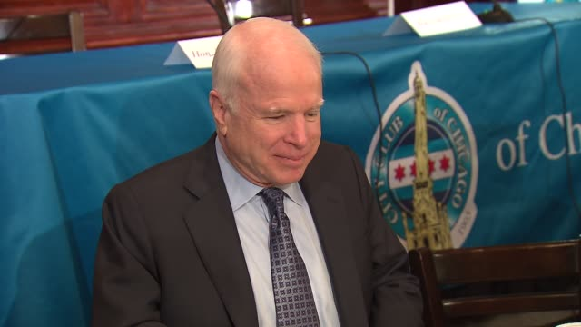 wgn senator john mccain and senator dick durbin attended an event at the city club of chicago to discuss immigration reform sen john mccain attends... - dick durbin stock videos & royalty-free footage