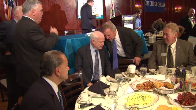 wgn senator john mccain and senator dick durbin attended an event at the city club of chicago to discuss immigration reform senators mccain and... - dick durbin stock videos & royalty-free footage