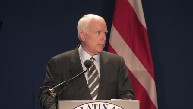 vídeos de stock e filmes b-roll de senator john mccain giving speech about us dependence on foreign oil at league of united latin american citizens convention during campaign for... - fato completo