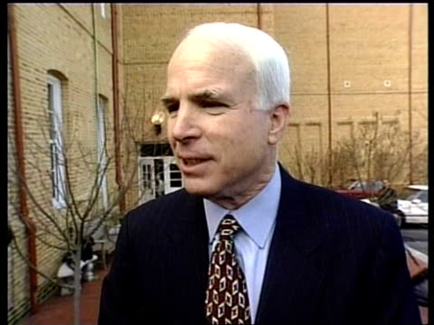 senator john mccain interviewed sot - there's another poll coming out showing it's all in a margin of error - we'll see what happens mccain embracing... - john mccain stock videos & royalty-free footage
