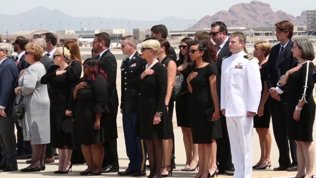 senator john mccain's remains were transferred from his funeral service in central phoenix to the barry goldwater arizona air national guard base for... - john mccain stock videos & royalty-free footage