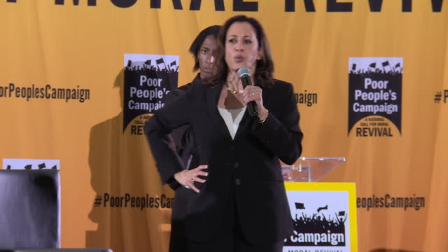 US Senator Kamala Harris speaks at event where several contenders for the Democratic presidential nomination address a gathering of antipoverty...