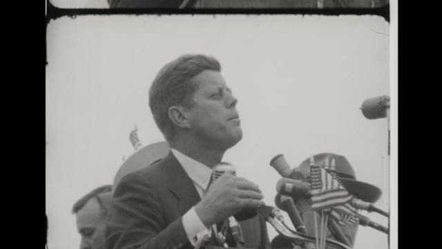 senator kennedy gives presidential campaign speech in norristown pa - john f kennedy video stock e b–roll