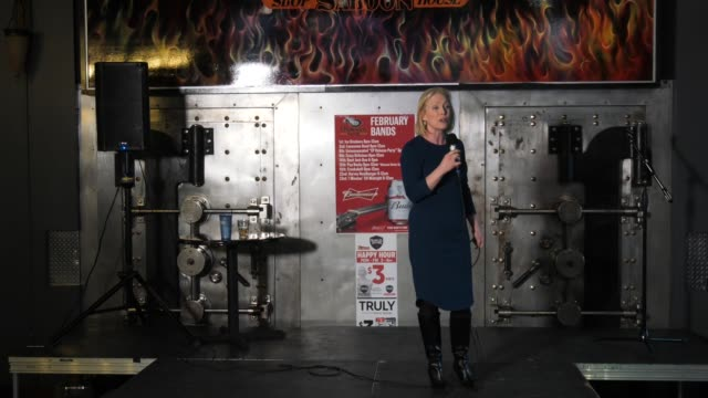 US Senator Kirsten Gillibrand makes a case for her electability during a rally in Cedar Rapids Iowa She talks about how a pollster told her that she...