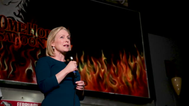 US Senator Kirsten Gillibrand speaks to guests during a campaign stop at the Chrome Horse Saloon on February 18 2019 in Cedar Rapids Iowa Gillibrand...
