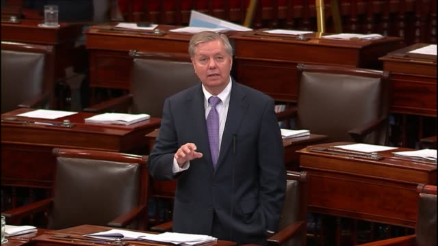 senator lindsey graham offers a view of the united states degrade and ultimately destroy strategy against middle east terrorist organization in iraq... - us republican party 2016 presidential candidate stock videos & royalty-free footage