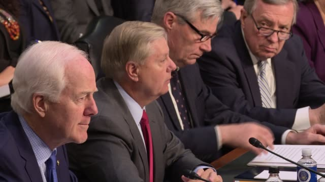 senator lindsey graham's opening statement for the senate judiciary committee hearing into russian interference into election 2016 he says every... - senate judiciary committee stock videos & royalty-free footage
