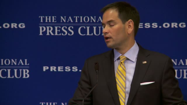vidéos et rushes de senator marco rubio republican from florida gives a speech at the national press club on retirement social security medicare immigration reform... - climate change