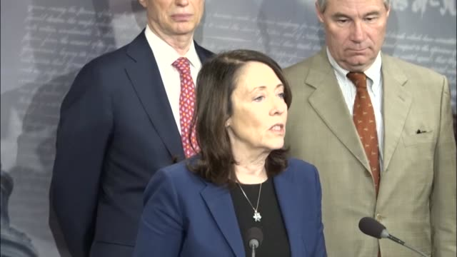 senator maria cantwell says at a press briefing with senate democrats to attack republican tax reform plans that according to the new america... - cut video transition stock videos & royalty-free footage