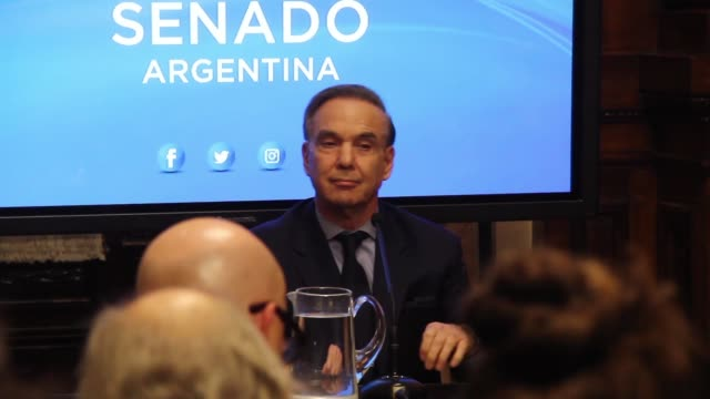 senator miguel angel pichetto during a press conference after argentine president mauricio macri picked him to be his running mate with a view to his... - mauricio macri stock videos and b-roll footage