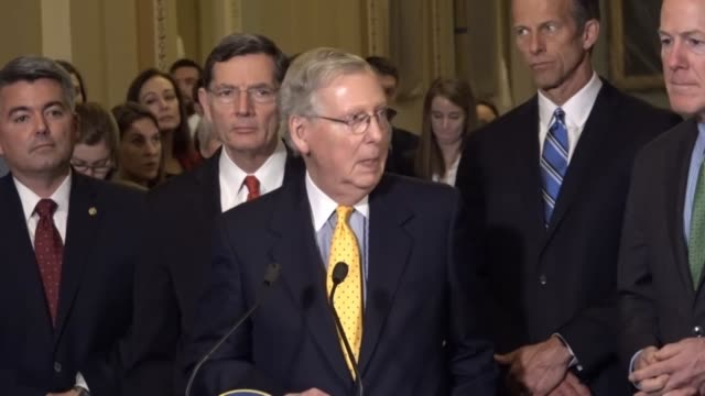 Senator Mitch McConnell is asked about an absence of women from a Republican working group tasked with formulating a bill to replace the Affordable...