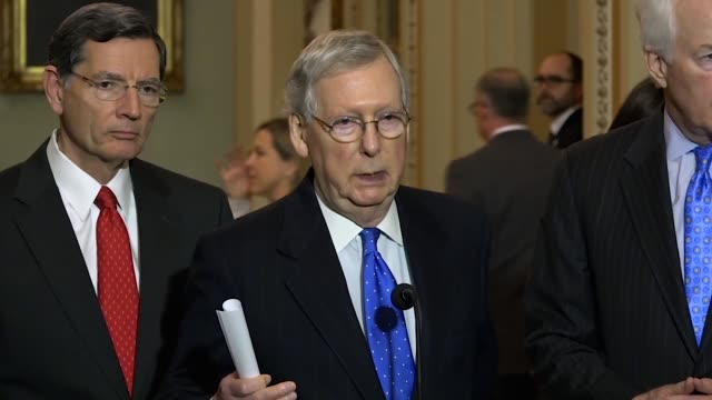senator mitch mcconnell tells reporters at a weekly briefing that he would call up a short-term funding extension through february 16, if passed by... - revival stock videos & royalty-free footage