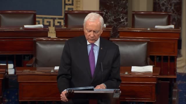 stockvideo's en b-roll-footage met senator orin hatch of utah says that efforts to repeal harmful regulations through the congressional review act have been historic hatch says that... - hatch