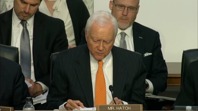 senator orrin hatch of utah questions fbi director christopher wray at the senate judiciary committee in a hearing on the doj and fbi actions in... - christopher a. wray stock videos & royalty-free footage