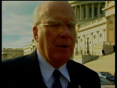 Senator Patrick Leahy interviewed SOT I think it's in everyone's interest GV Capitol building Vox pops European New York World Trade Center TGV...