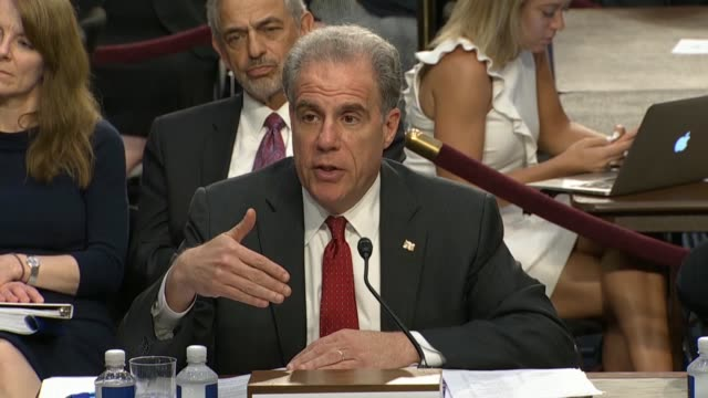 senator patrick leahy of vermont questions doj inspector general michael horowitz at a senate judiciary committee hearing on the doj and fbi actions... - christopher a. wray stock videos & royalty-free footage