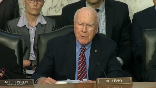 senator patrick leahy of vermont questions fbi director christopher wray at a senate judiciary committee hearing on the doj and fbi actions in... - christopher a. wray stock videos & royalty-free footage