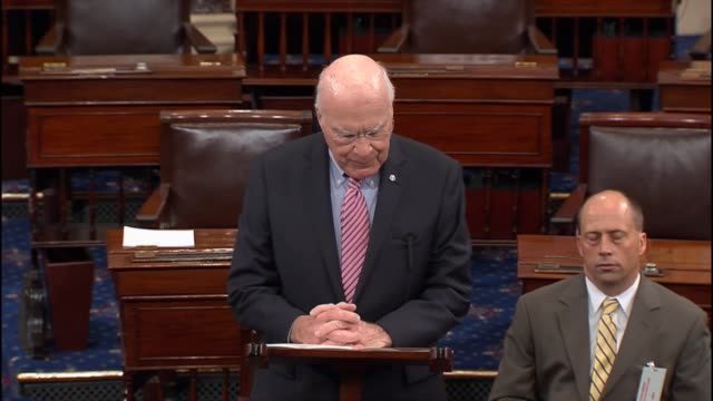 Senator Pay Leahy begins remarks explaining his support of the nuclear agreement with parallels to US experience with Cuba in the early 1960s