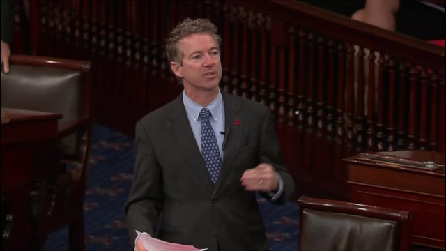 senator rand paul of kentucky calls increasing debt for defense budget irresponsible and dangerous - us republican party 2016 presidential candidate stock videos & royalty-free footage