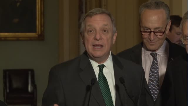 senator richard durbin of illinois tells reporters at a weekly briefing that to give a supreme court nominee fair warning that if they were bold or... - nominee stock videos & royalty-free footage