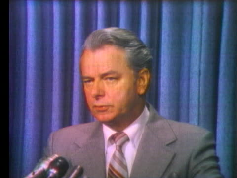 senator robert byrd says he does not want the american people to feel that congress is pressuring president richard nixon to resign. - resignation of richard nixon stock videos & royalty-free footage