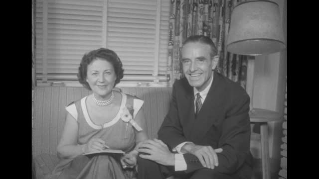 senator robert kerr on porch / averell harriman and wife marie james in a casual living room with franklin d roosevelt jr and former pres franklin... - sam rayburn stock videos and b-roll footage