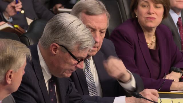 senator sheldon whitehouse democrat from rhode island opening statement to the senate judiciary committee on russian interference in 2016 election... - senate judiciary committee stock videos & royalty-free footage