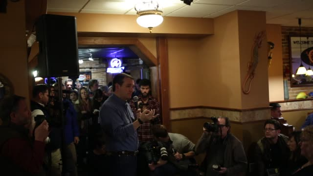 senator ted cruz a republican from texas and 2016 presidential candidate delivers remarks during a meet and greet at pedrazas mexican restaurant in... - meet and greet stock videos and b-roll footage