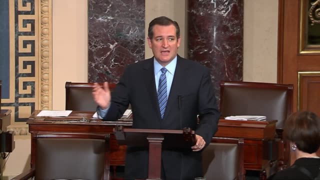senator ted cruz says senate majority leader mitch mcconnell and house speaker john boehner refuse to act against the policies of the obama... - speaker of the house stock videos and b-roll footage