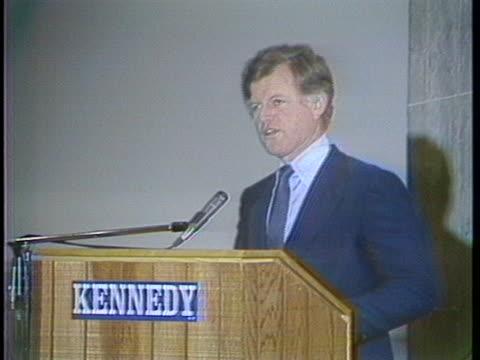 senator ted kennedy opens an iowa campaign speech with a joke. - lightweight stock videos & royalty-free footage
