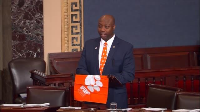 Senator Tim Scott congratulates the Clemson Tigers on their football championship victory