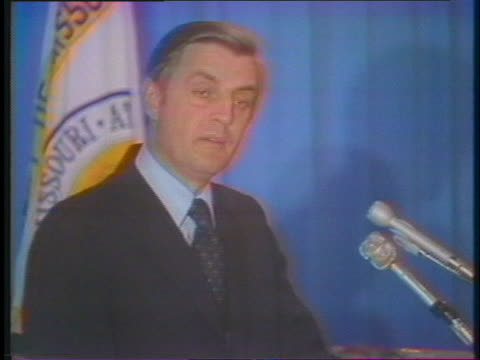 senator walter mondale criticizes us president gerald ford for defending former us president richard nixon during the watergate scandal. - (war or terrorism or election or government or illness or news event or speech or politics or politician or conflict or military or extreme weather or business or economy) and not usa stock videos & royalty-free footage